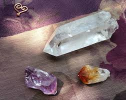Citrine, amethyst and clear points